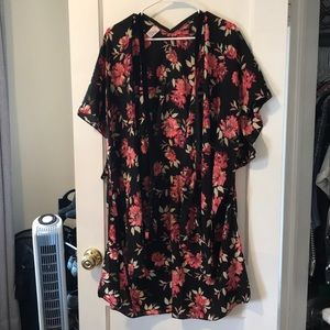 Kimono style cover up with flowers